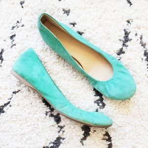 J. Crew Green Suede Leather Ballet Flat 7.5
